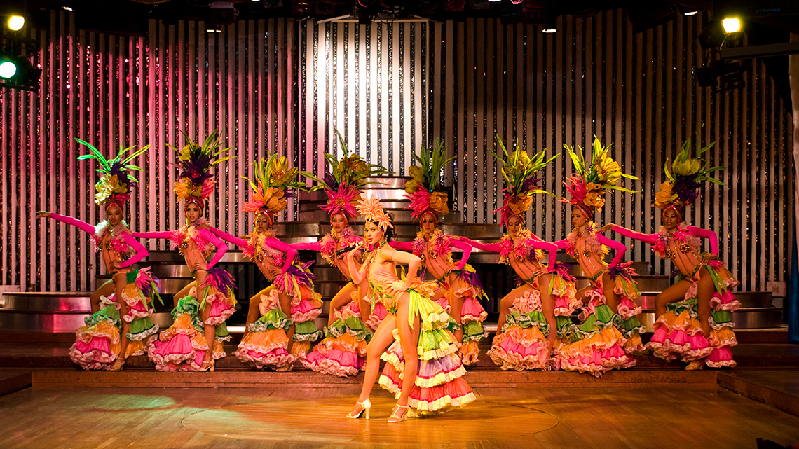 Dancers in the middle of a show in Cabaret Parisien in Hotel Nacional de Cuba