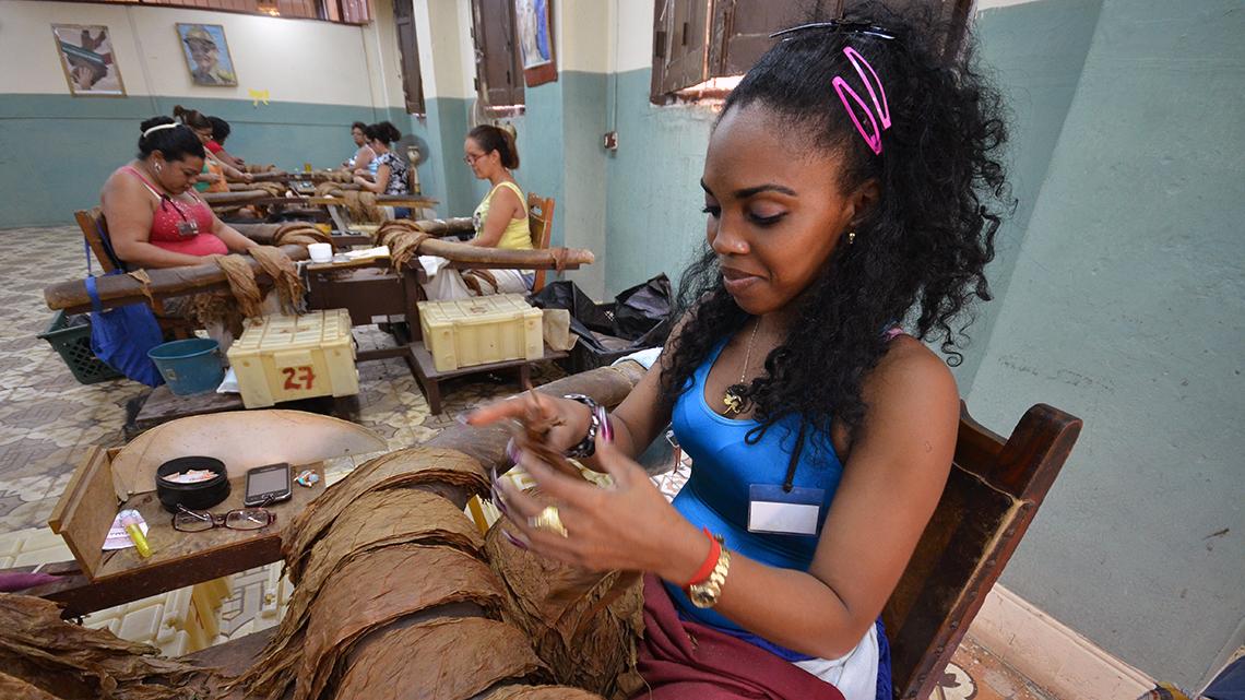 Women hand-rolling cigars in a factory in Cuba