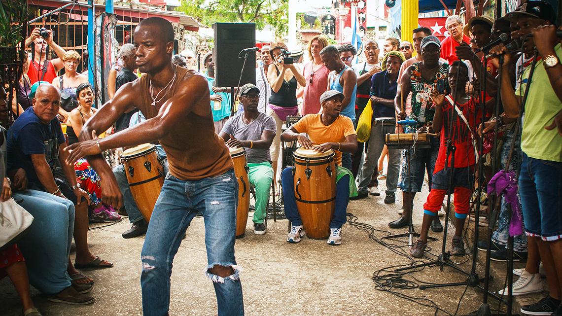 Rumba session in Callejon de Hamel in Havana, Joanna Lumley's documentary film
