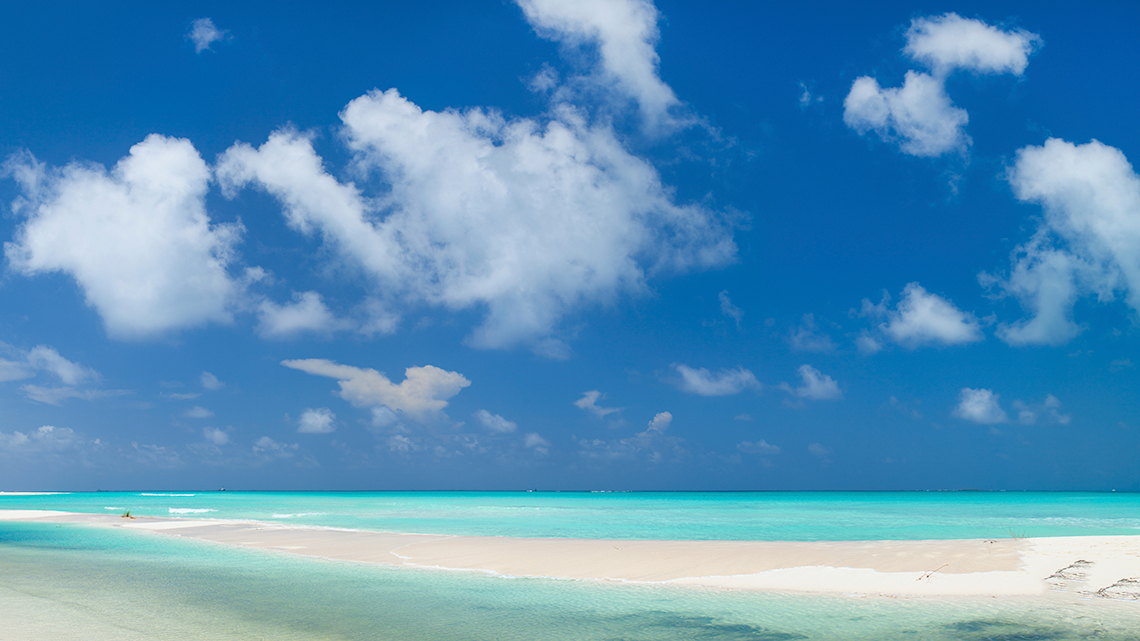 White sand and blue sky in Playa Pilar, Cayo Guillermo, Cuba