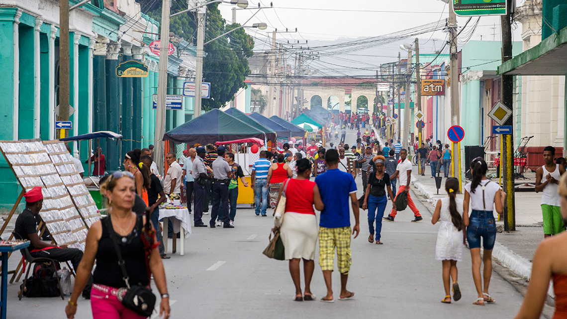 Busy streets in the city of Guantanamo in Eastern Cuba