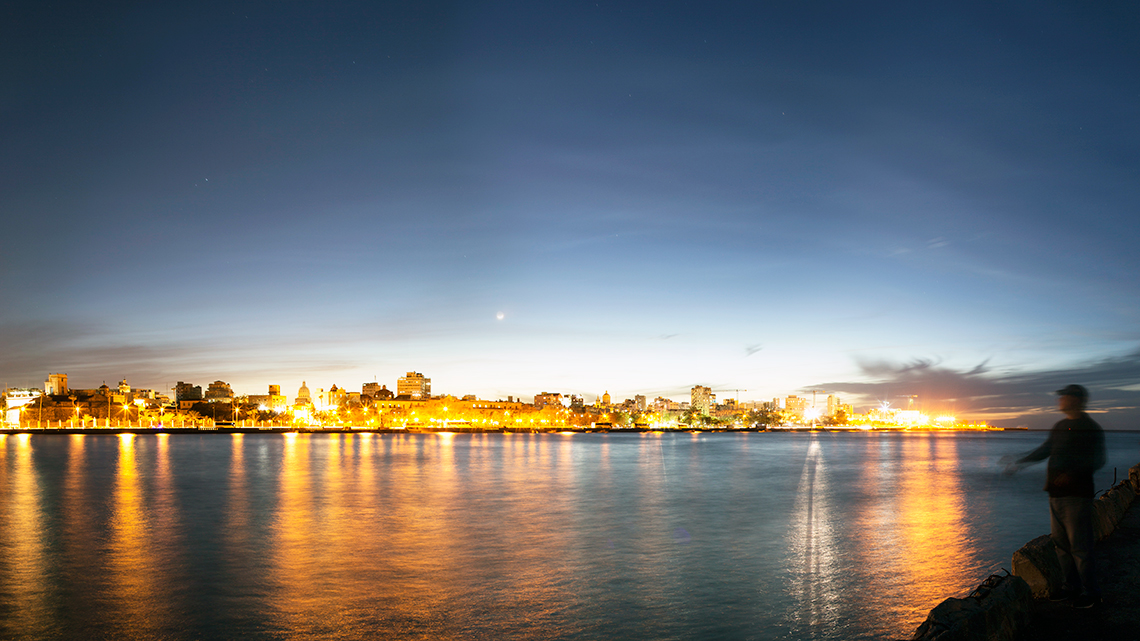 View of Havana City across the bay at night