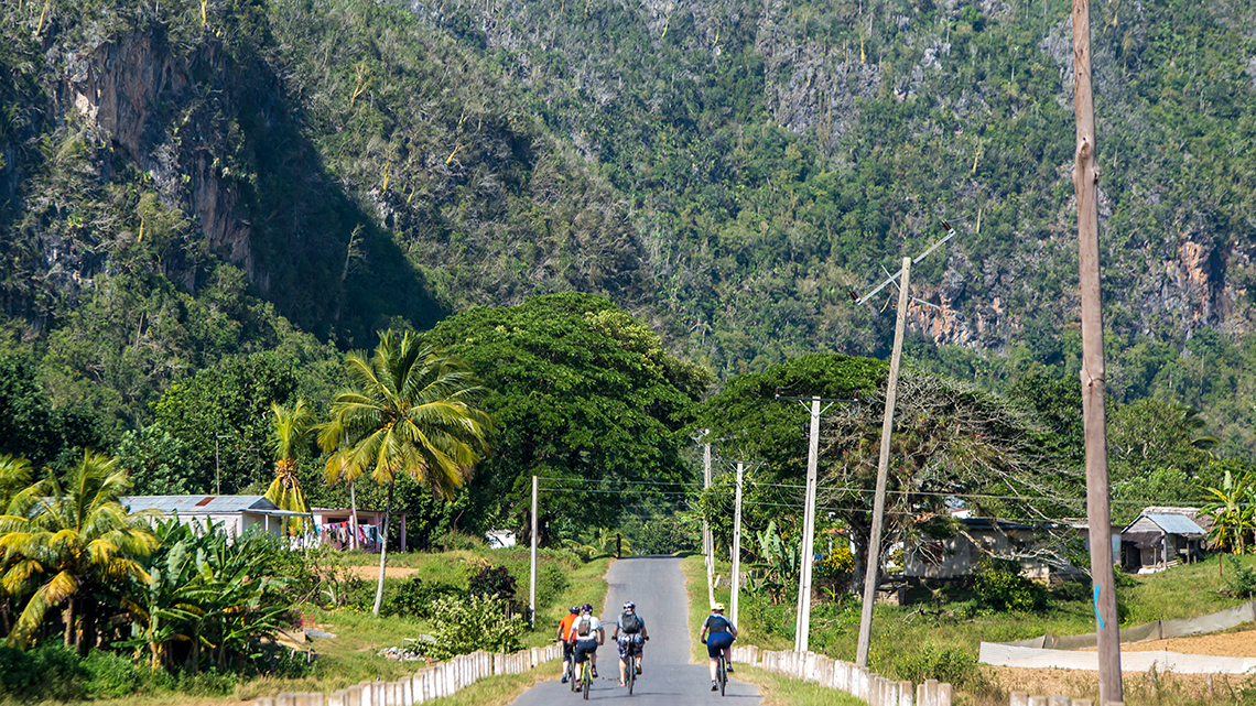 Group of cyclist riding in Pinar del Rio