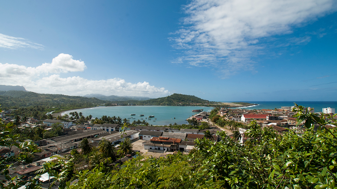 Panoramic view of Baracoa in Guantanamo province, in the background El Yunque