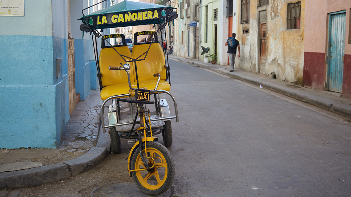 Bicitaxi in the streets of Old Havana, Cuba