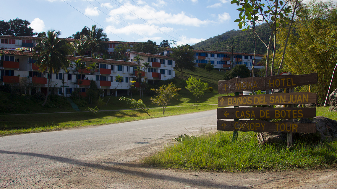 Entrance to Las Terrazas, eco-friendly community in the province of Artemisa, Cuba