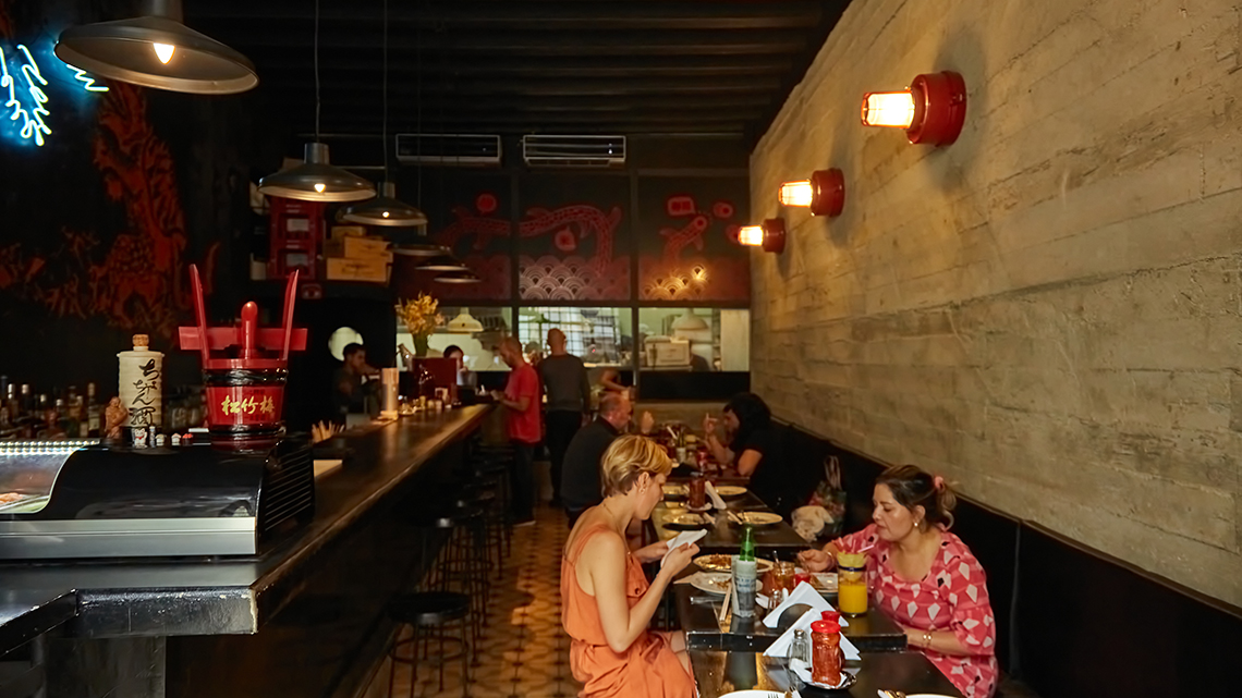 People eating in Paladar Jama, Japanese and Asia fusion restaurant in Havana