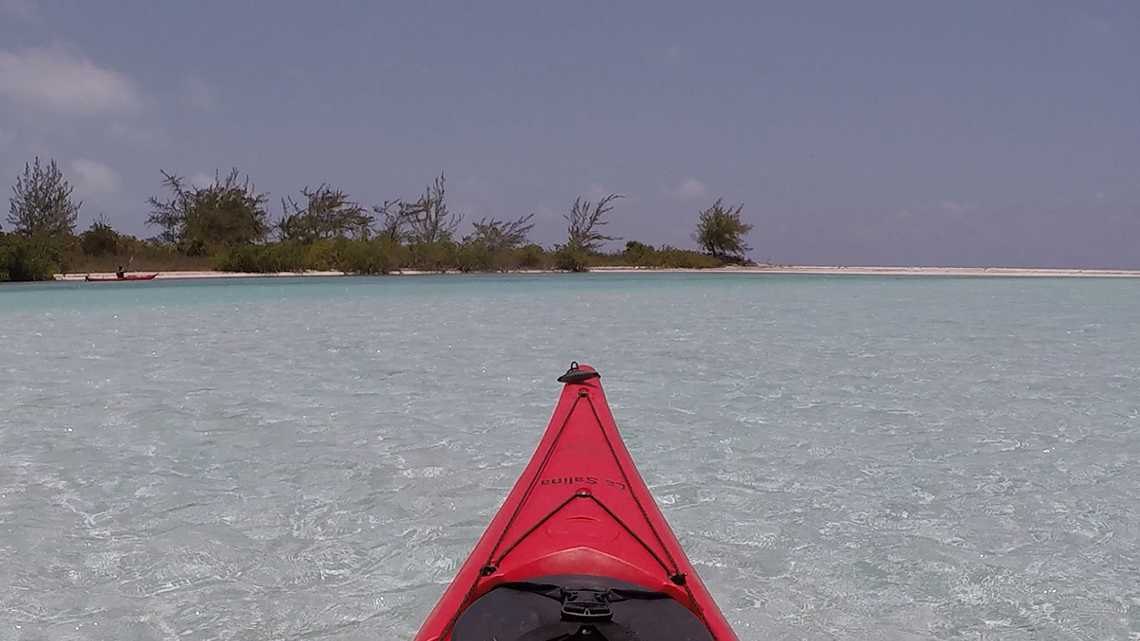 Kayaking in the clear water of Playa Giron, Cuba