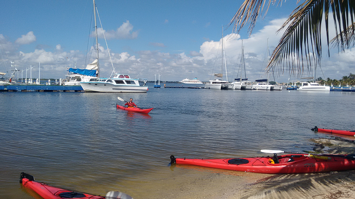 Lovely view of our group kayaking last December in Cuba