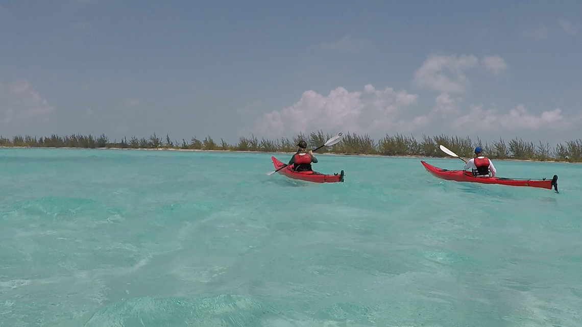 John and Mikaela paddling in front of me in the clear waters of Cuba