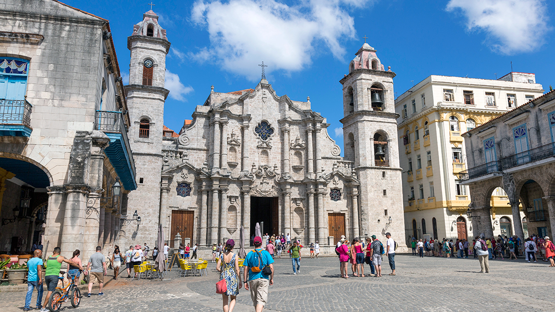 View of Plaza de la Catedral, in the background the main entrance of Havana's Cathedral