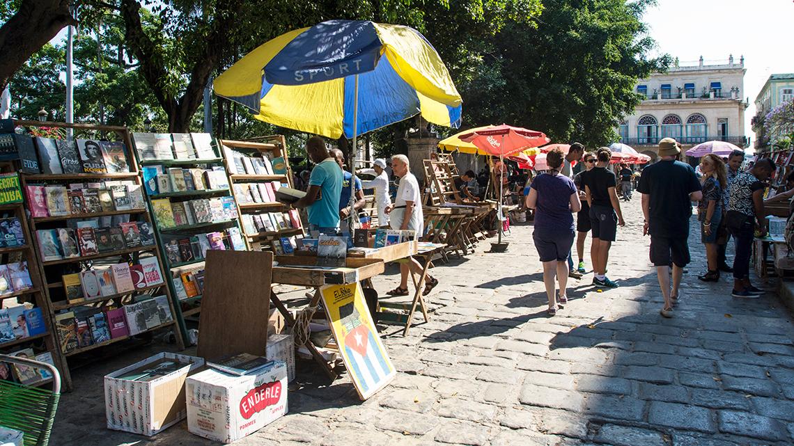 Book vendors in Plaza de Armas in the heart of Old Havana, Cuba