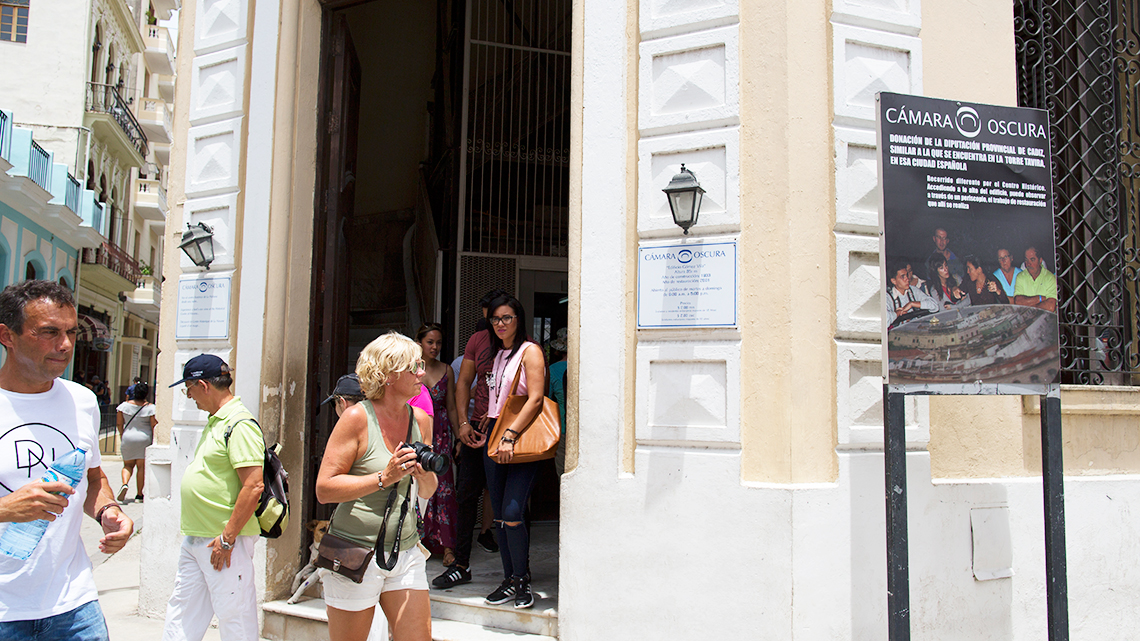 Entrance to Old Havana's Camara Obscura, right in the corner of Plaza Vieja