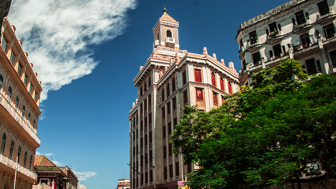 View of Bacardi Building in Old Havana