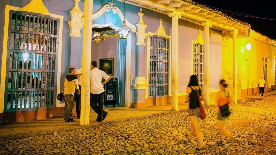 Tourist and locals mingle at Casa de la Trova in Trinidad