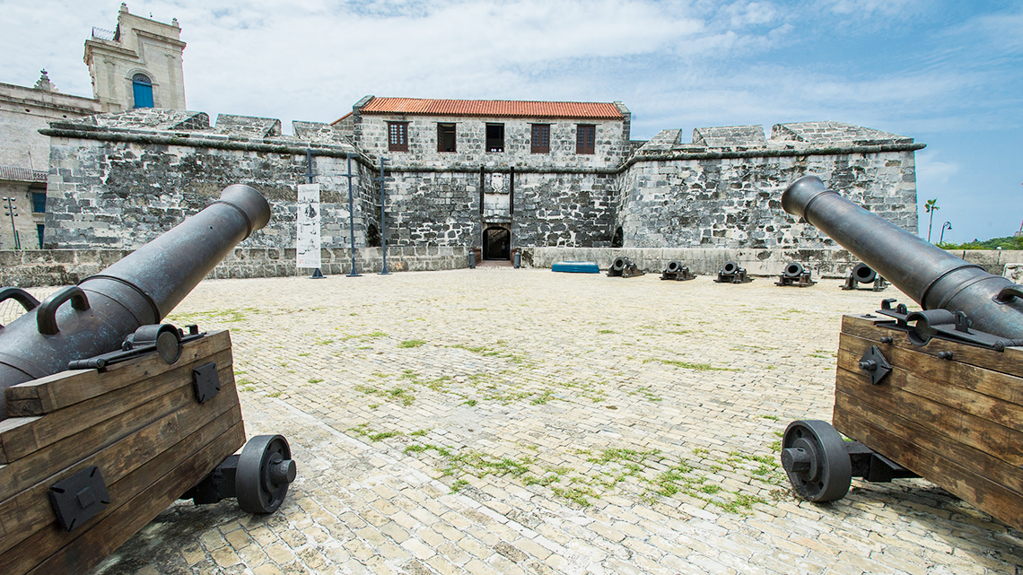 Canons guard the entrance to La Real Fuerza Castle in Old Havana