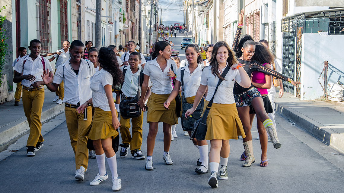 Students walking the streets of Santiago de Cuba