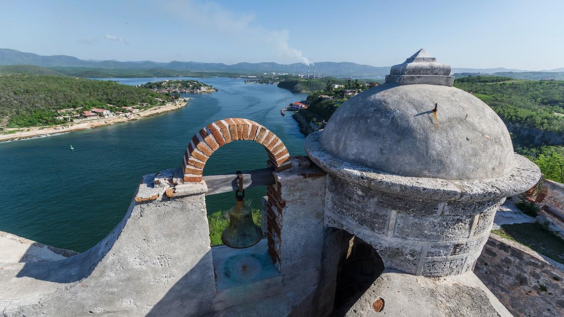 View of Santiago de Cuba's Bay seen from San Pedro de la Roca Castle in Santiago de Cuba