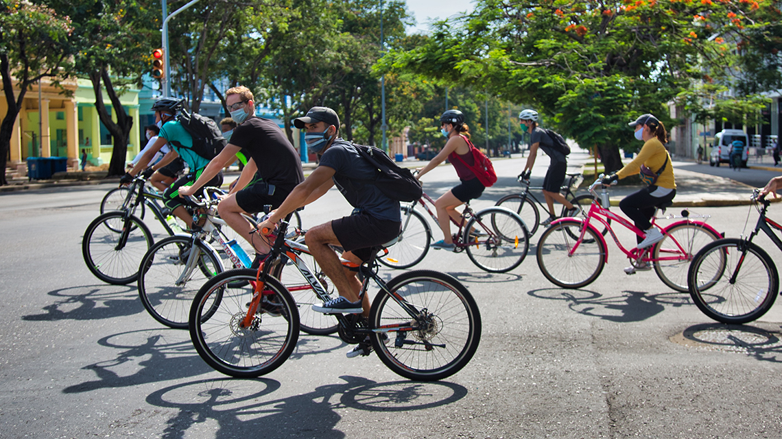 Young people riding the streets of Centro Habana during one of the last editions of Bicicletear La Habana