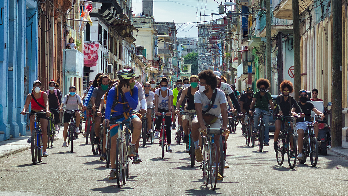 Streets of Old Havana full of cyclist celebrating Masa Critica La Habana