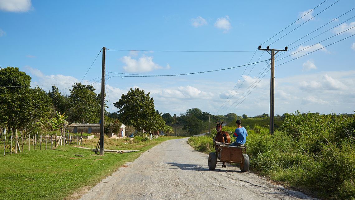 Cyclist encounter a horse drawn carriage on his way to Vinales in Western Cuba