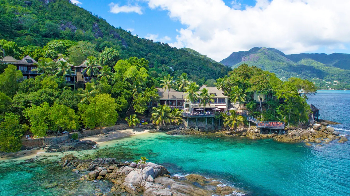 Nestled among the exhuberant vegetation the Hilton Seychelles Northolme Resort & Spa in Glacis, Mahe, The Seychelles