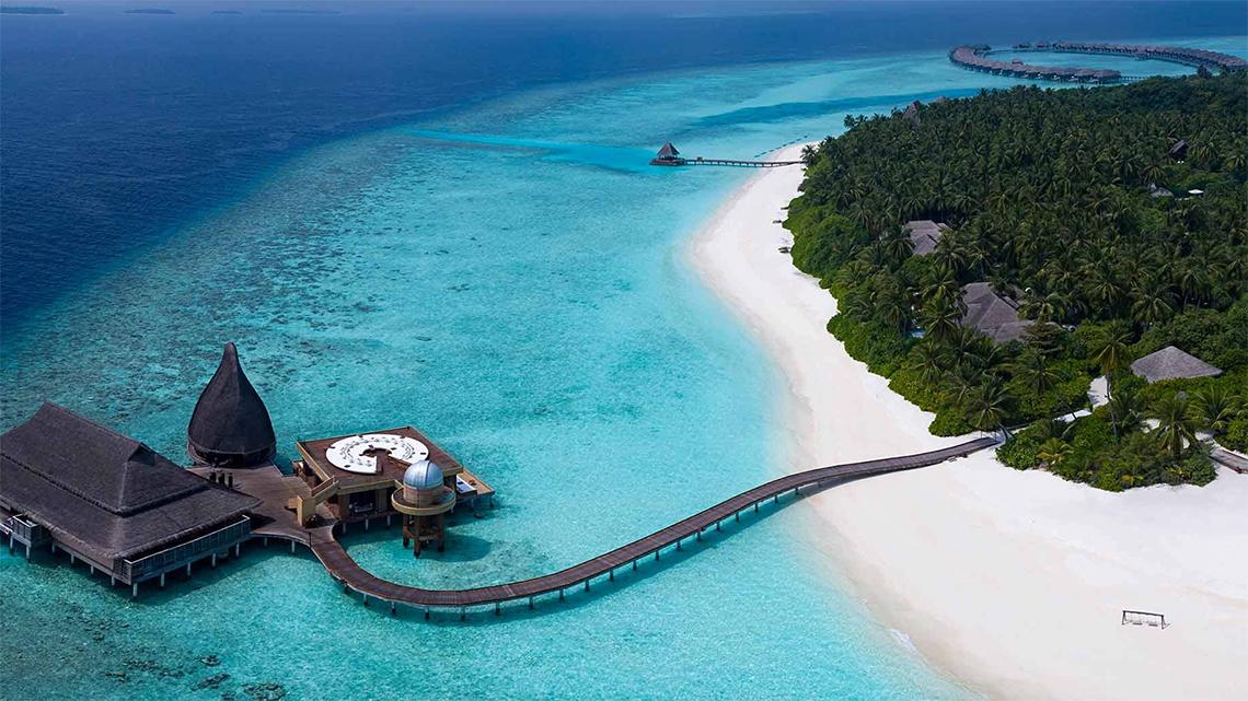 Aerial view of Kihavah Huravalhi in the Baa Atoll, Maldives