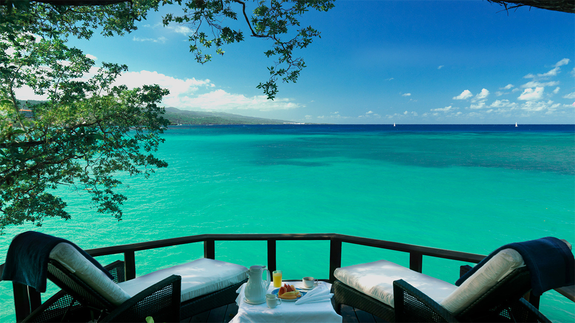 Lovely view of the Caribbean Sea from Jamaica Inn hotel
