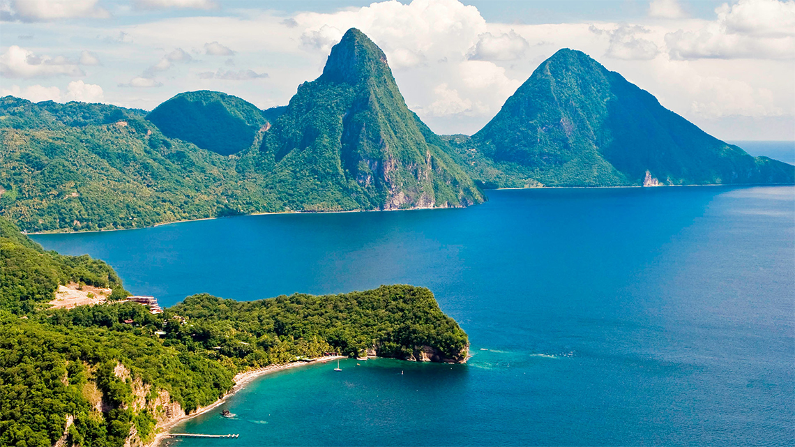 The Pitons, a symbol of the lovely St Lucia