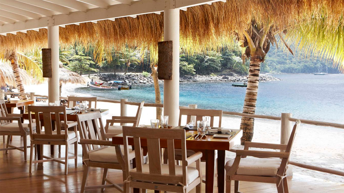 The lovely Bayside Restaurant is just by the beach of the Sugar Beach, A Viceroy Resort hotel