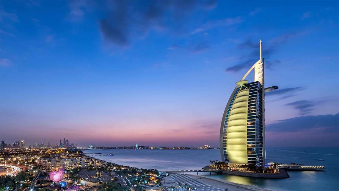 View of the sunset at Burj Al Arab in Dubai