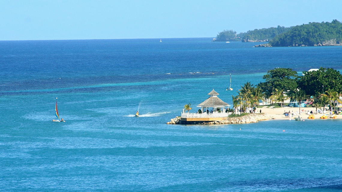 Blue waters of the Caribbean Sea in Ocho Rios, Jamaica
