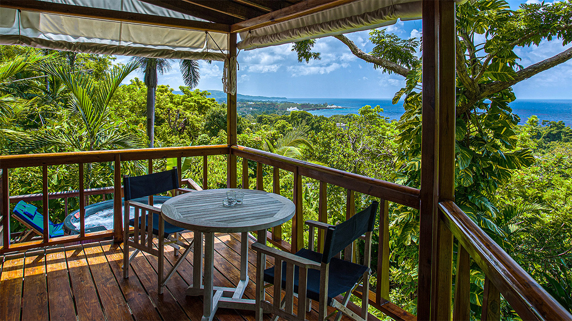 Amazing view of the mountains and the Caribbean Sea from one of the villas at GeeJam hotel